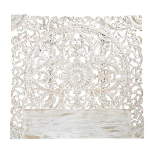 Tete De Lit 160 Sculptee En Manguier Massif Blanc