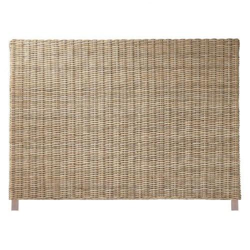 Tête de lit en rotin Kubu et mahogany massif L 140 cm