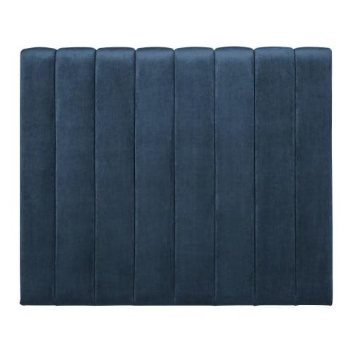 Tête de lit matelassée 180 en velours bleu