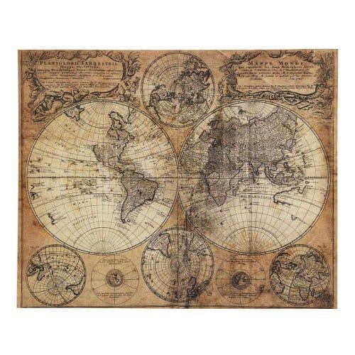 Toile Imprimee Carte Du Monde 73x93 Mappemonde Maisons Du Monde