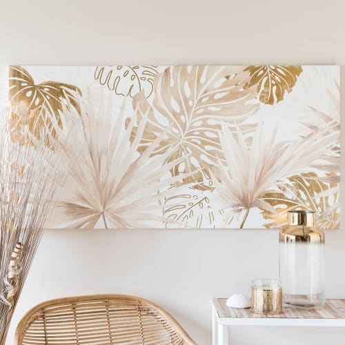 Toile Imprimee Feuillage Tropical 120x60 Panoramic Leaves Maisons Du Monde