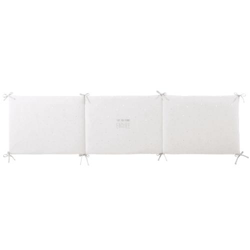 Tour de lit bébé en coton gris et blanc