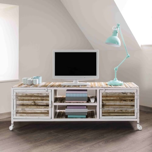 TV Lowboard aus Metall und Holz, B 140 cm, weiß Mistral