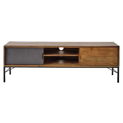 TV-Möbel aus Mangoholz und schwarzem Metall