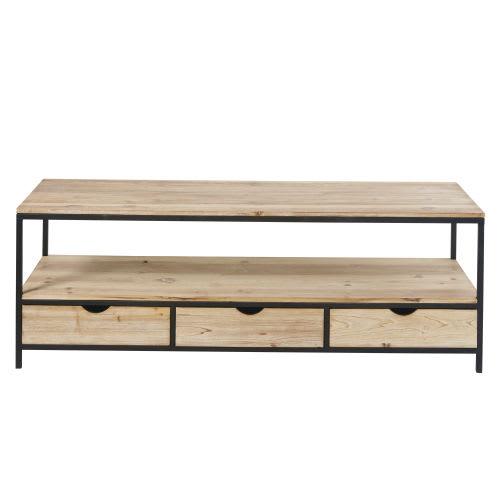 TV-Möbel, aus massivem Tannenholz und Metall