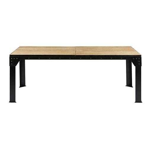 Zwarte Uitschuifbare Eettafel.Uitschuifbare Eettafel Voor 8 A 12 Personen In Mangohout En Zwart Metaal L200 280 Maisons Du Monde