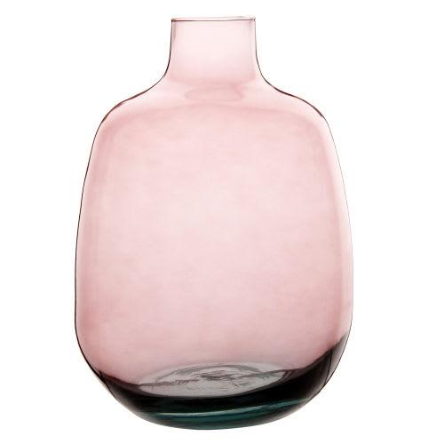 Vase bouteille en verre rose H27
