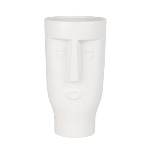 Maison du Monde Vase visage en dolomite blanche H23