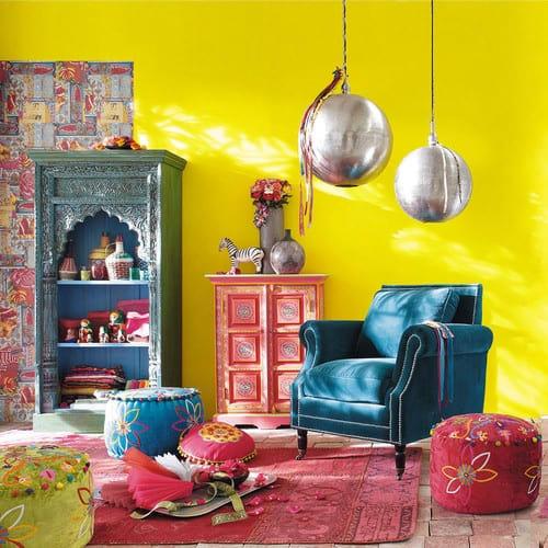 Velvet armchair in peacock blue Baudelaire | Maisons du Monde