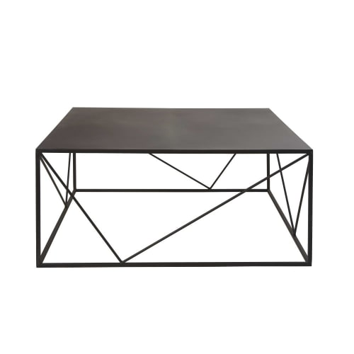 Zwarte Vierkante Salontafel.Vierkante Salontafel Van Zwart Metaal Maisons Du Monde