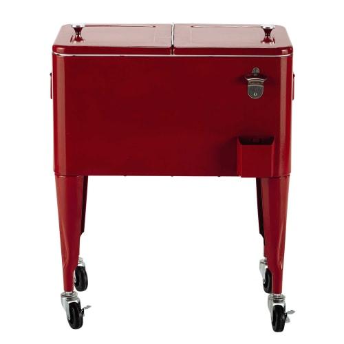 Vintage-Kühlbox auf Rollen aus Metall, H 77 cm, rot