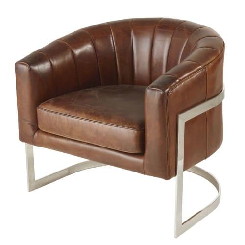 Vintage Sessel mit braunem Lederbezug und Metall | Maisons du Monde