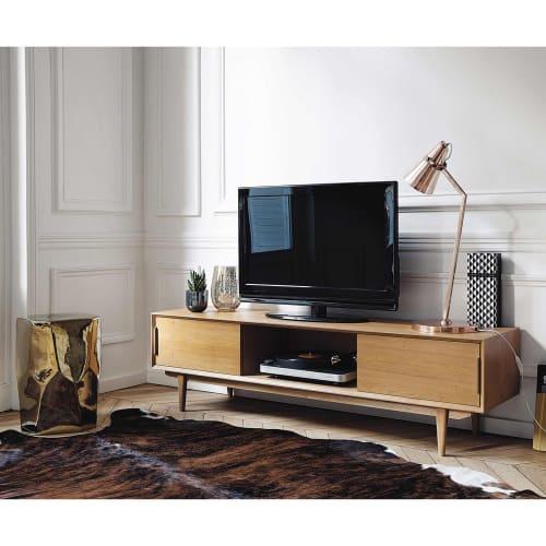 Vintage Tv Lowboard Aus Massiver Eiche Portobello Maisons Du Monde