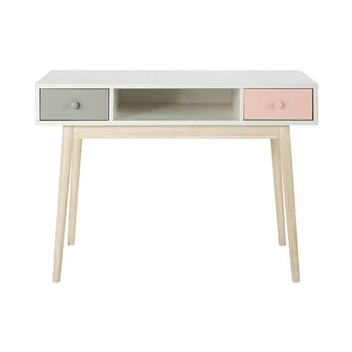Scrivania Paint Your Life.Vintage White Desk With 2 Pink And Grey Drawers