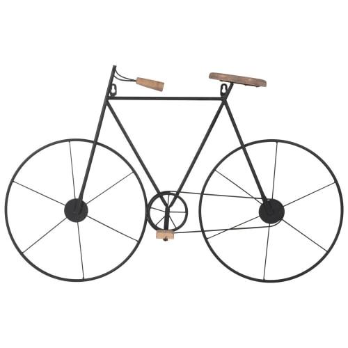 Wanddeko Fahrrad aus Tannenholz und Metall, schwarz, 76x50   Maisons du Monde