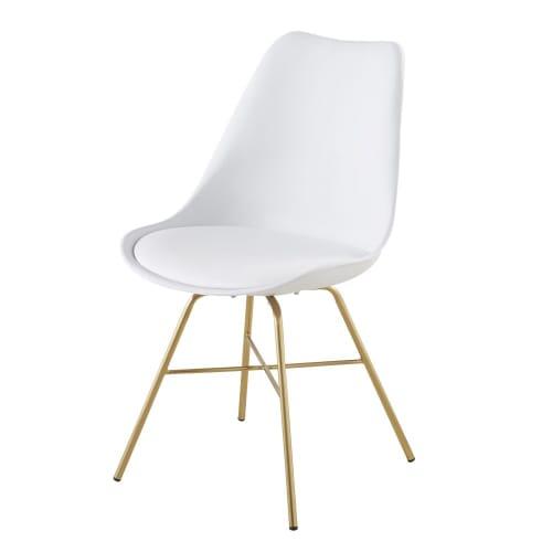 Weißer Stuhl mit verchromten, goldfarbenen Beinen | Maisons du Monde