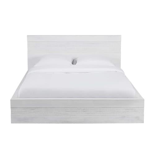 Weißes Bett Aus Gealtertem Massivem Mangoholz 180 X 200 Cm