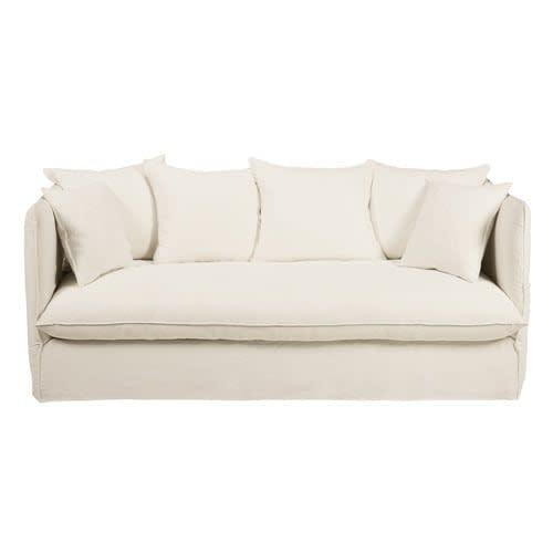 Letti La Maison Du Monde.White 3 4 Seater Washed Linen Sofa Bed