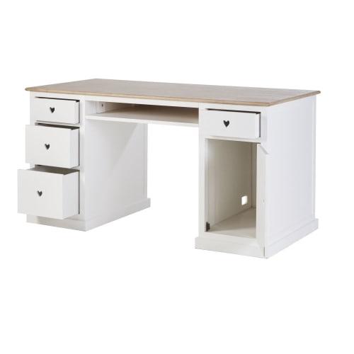 Scrivania Newport Maison Du Monde.White 4 Drawer 1 Door Desk Mila Maisons Du Monde