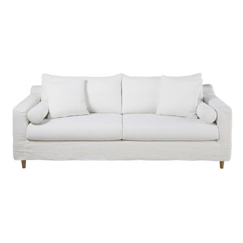 White 4 Seater Washed Linen Sofa Bed