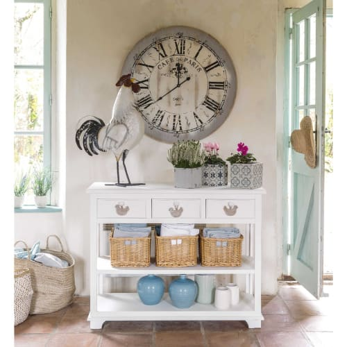 White Console Table With 3 Drawers And Baskets Basse Cour Maisons Du Monde - White Console Table With Storage Baskets