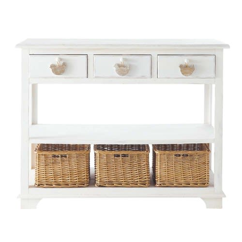 Sensational White Console Table With 3 Drawers And 3 Baskets Interior Design Ideas Oxytryabchikinfo