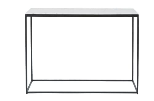 White Marble And Black Metal Console Table
