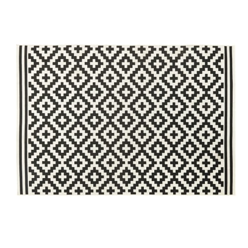 White Outdoor Rug With Black Graphic Print 160x230 Maisons Du Monde