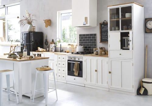 White Solid Mango Wood 9-Door Kitchen Base Unit  Maisons du Monde