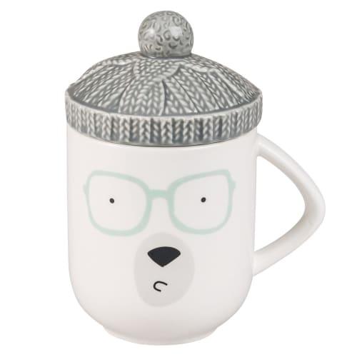 White Stoneware Bear Mug with Lid  Maisons du Monde