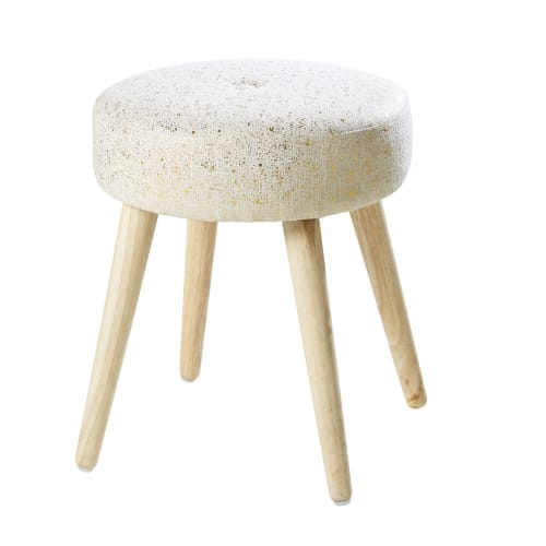 White Stool With Gold Spot Print And Rubber Wood Feet Maisons Du Monde