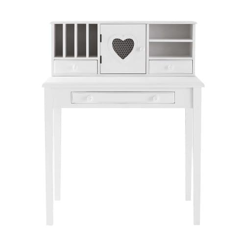 Scrivania Newport Maison Du Monde.White Writing 1 Door 3 Drawer Desk Valentine Maisons Du Monde