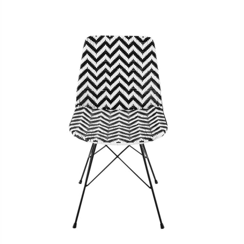 Wicker And Metal Chair In Black White Zigzag Maisons Du Monde