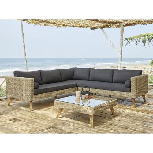 Wicker And Tempered Glass Garden Coffee Table W 80cm