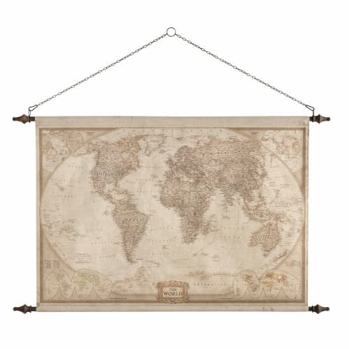 carte du monde maison du monde World Map Wall Decoration 117x129 Explorateur | Maisons du Monde