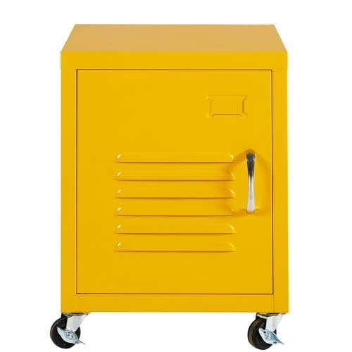 Sensational Yellow Metal Bedside Table On Wheels Interior Design Ideas Tzicisoteloinfo
