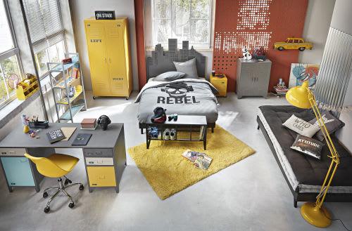 Amazing Yellow Metal Bedside Table On Wheels Interior Design Ideas Tzicisoteloinfo