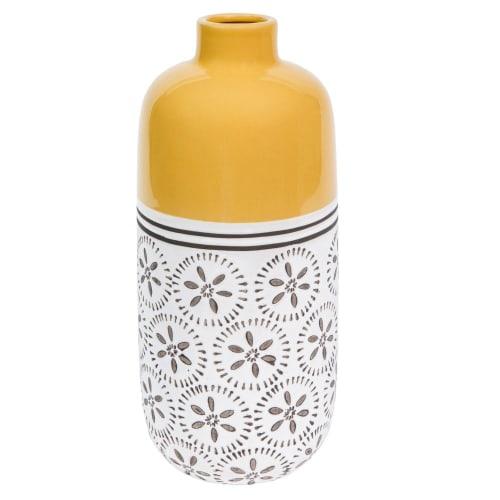 Yellow Patterned Ceramic Vase H 9 cm  Maisons du Monde