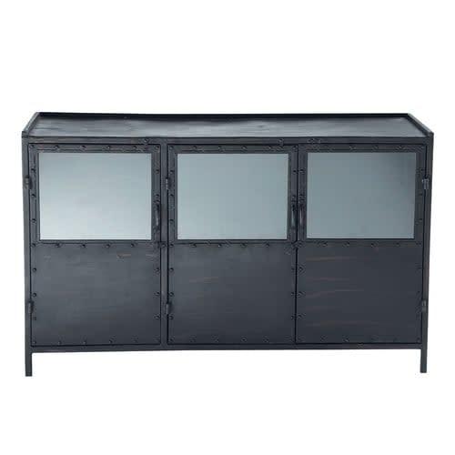 Nieuw Zwart metalen industrieel dressoir met glas B 130 cm Edison AK-86