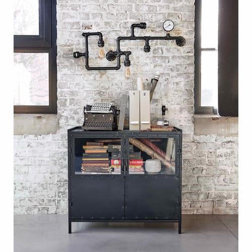 Dressoir Met Glas.Zwart Metalen Industrieel Dressoir Met Glas B 87 Cm