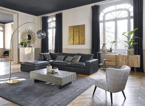 Kleine Zwarte Hoekbank.Zwarte Leren Hoekbank Met 6 Zitplaatsen Hank Maisons Du Monde