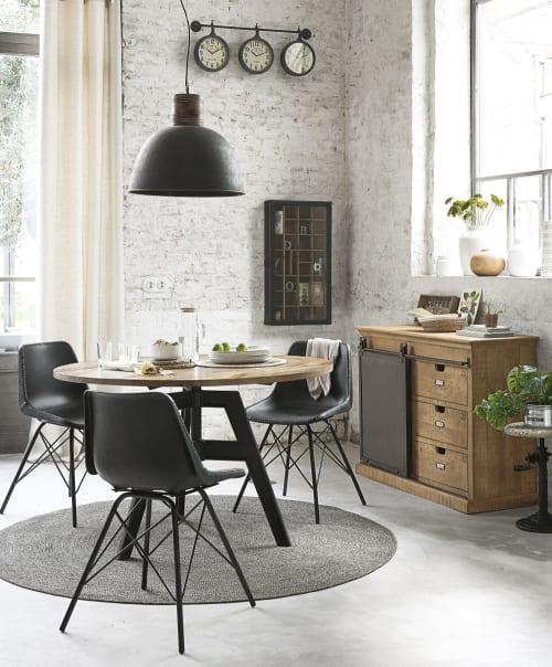 8 Zwarte Design Stoelen.Zwarte Metalen En Leren Industriele Stoel Austerlitz Maisons Du