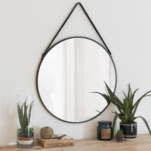 Wonderbaarlijk Zwarte metalen ronde spiegel D55 Cody | Maisons du Monde EF-06