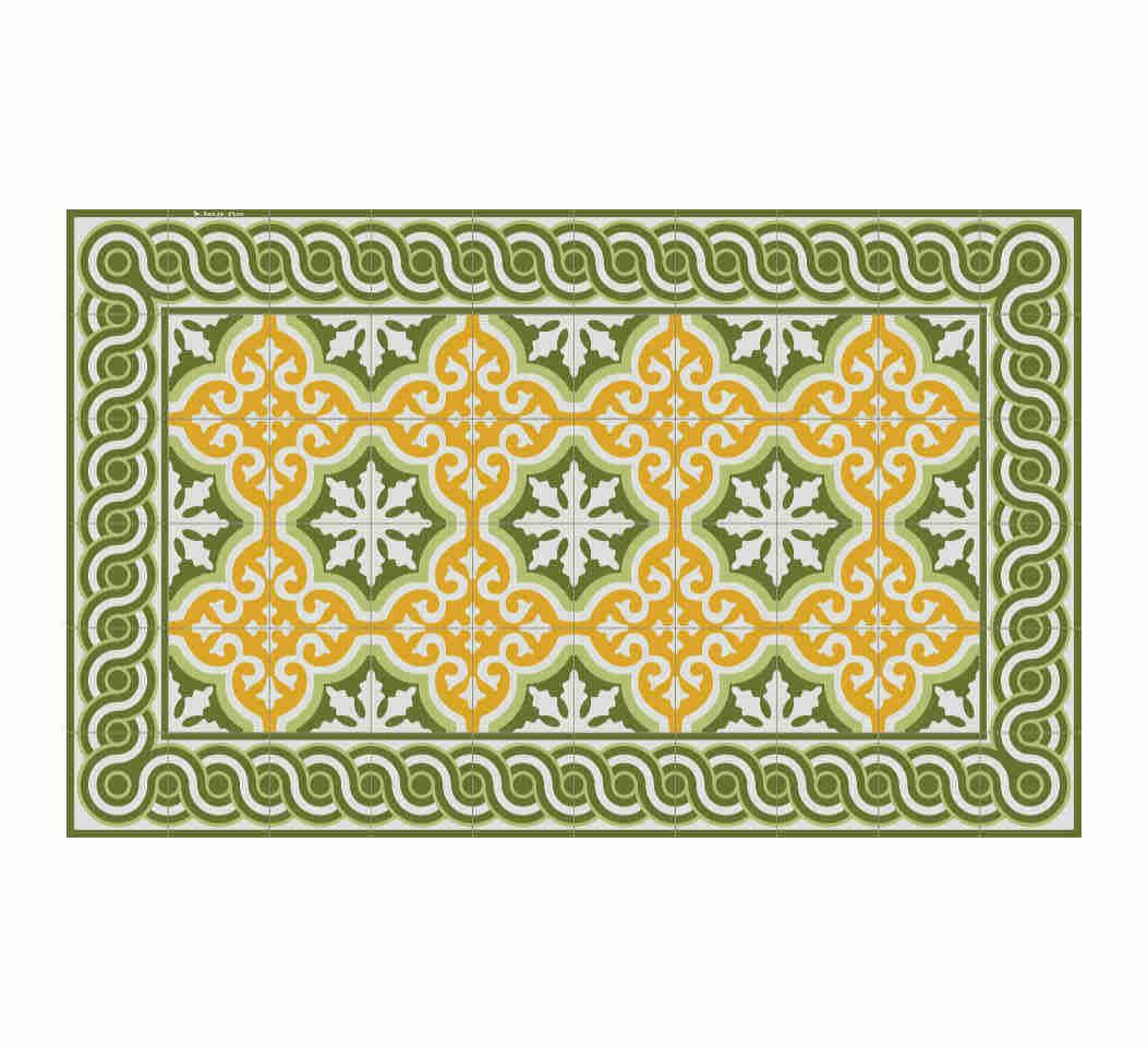 Tapis en vinyle motifs carreaux de ciment vert 70x180