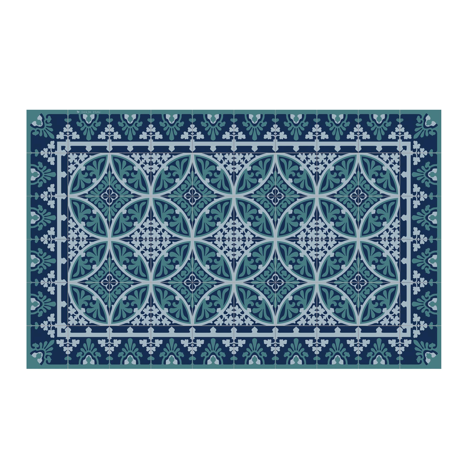 Tapis en vinyle motifs carreaux de ciment bleu 60x97
