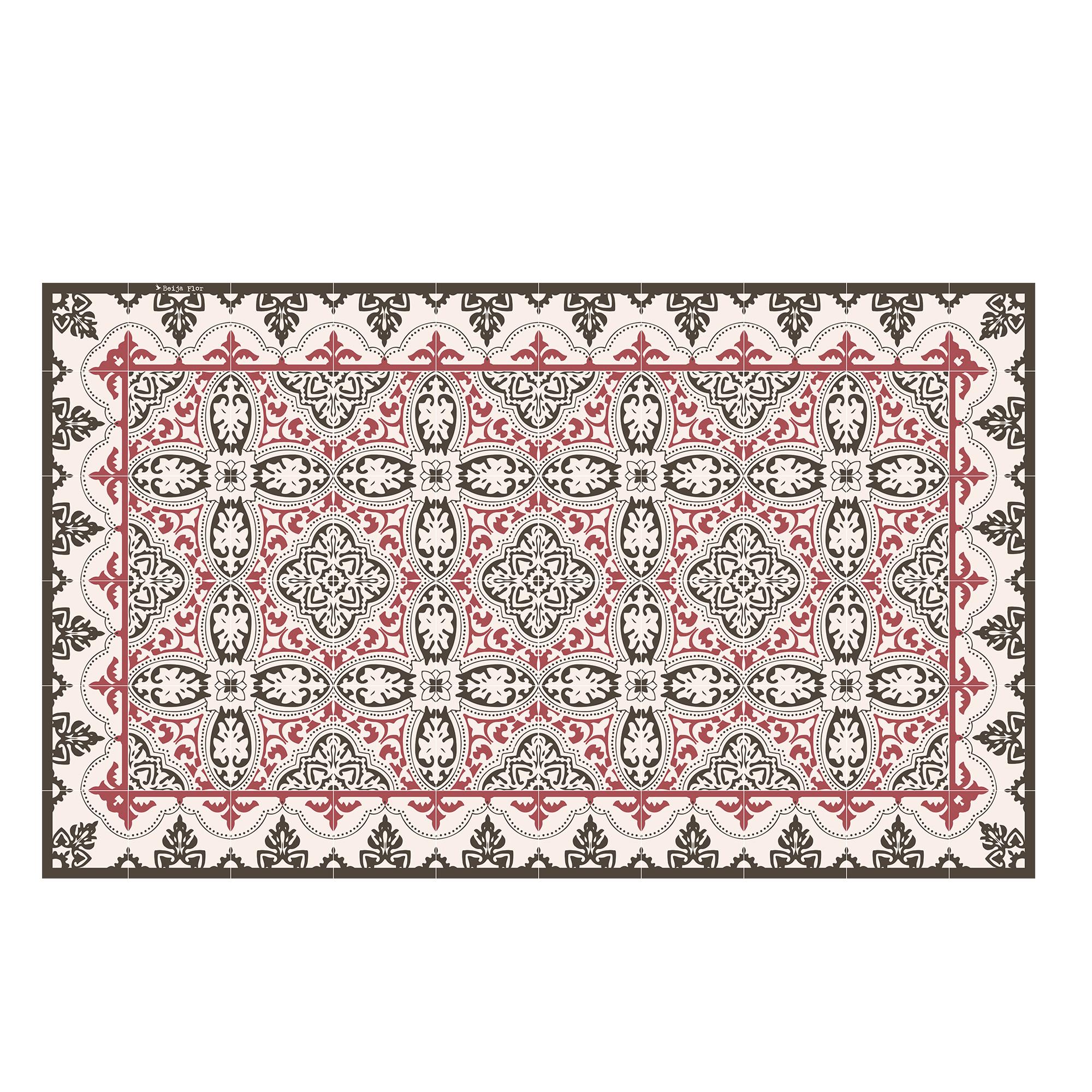 Tapis en vinyle motifs carreaux de ciment rouge 70x180