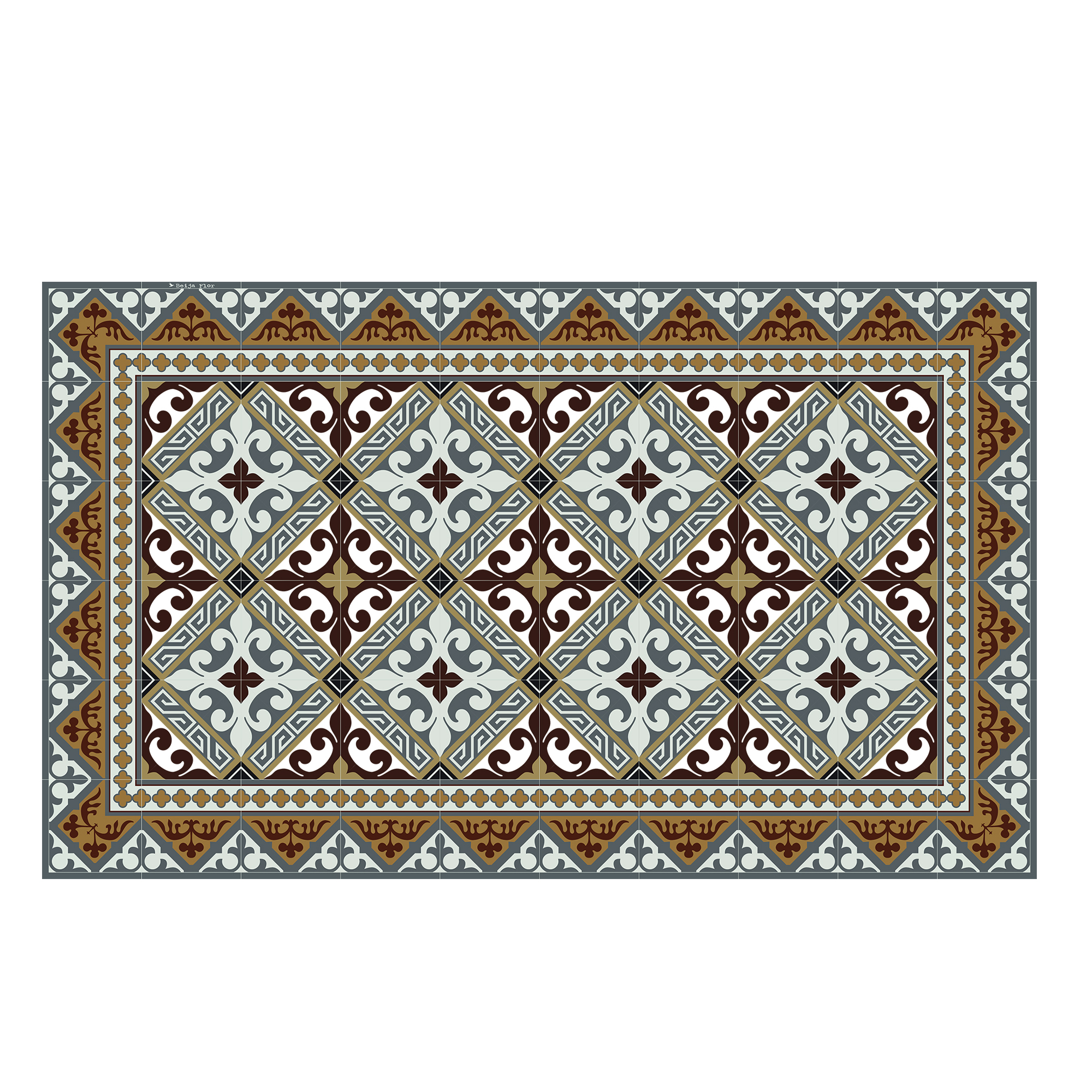 Tapis en vinyle motifs carreaux de ciment marron 70x120