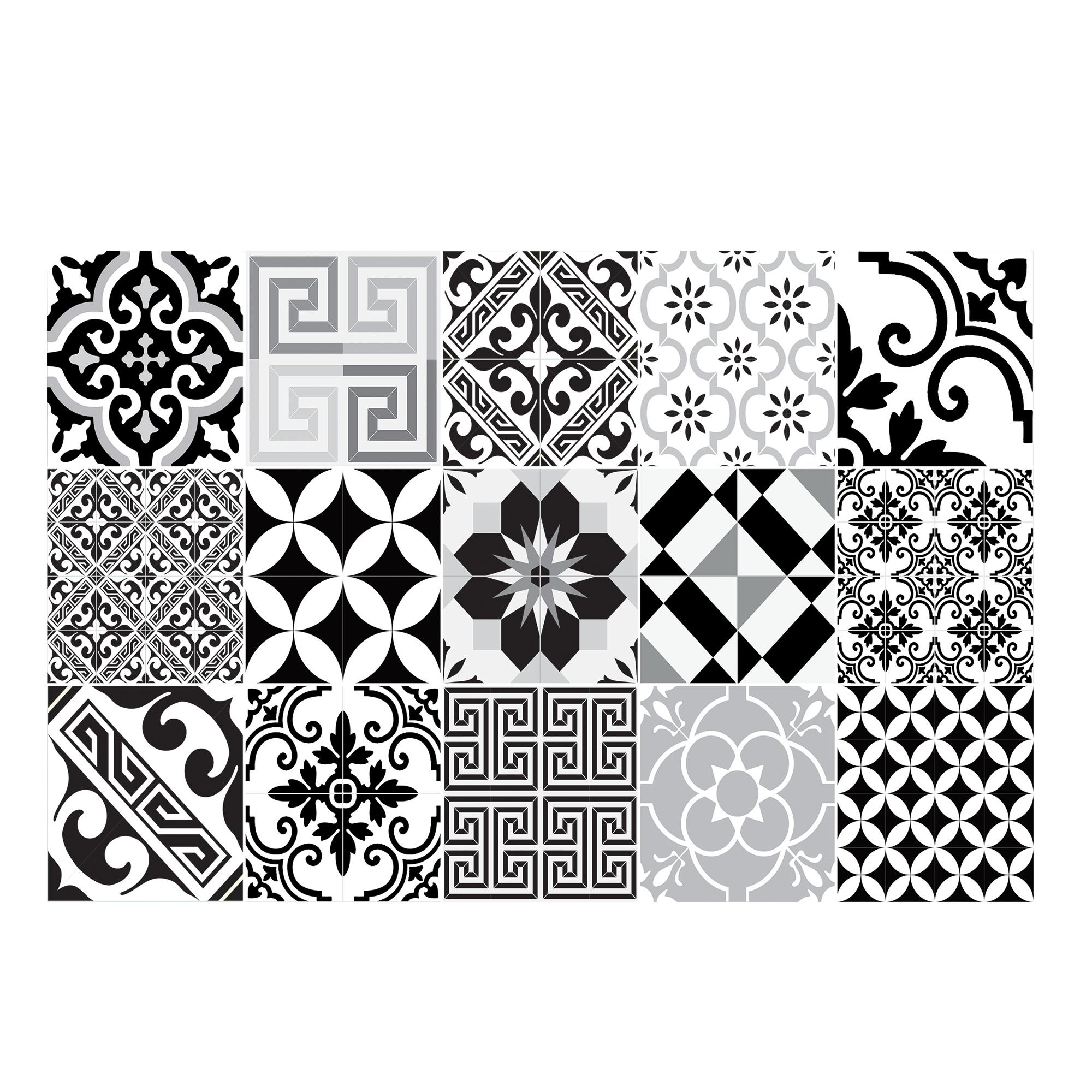 Tapis en vinyle motifs carreaux de ciment noir 60x97