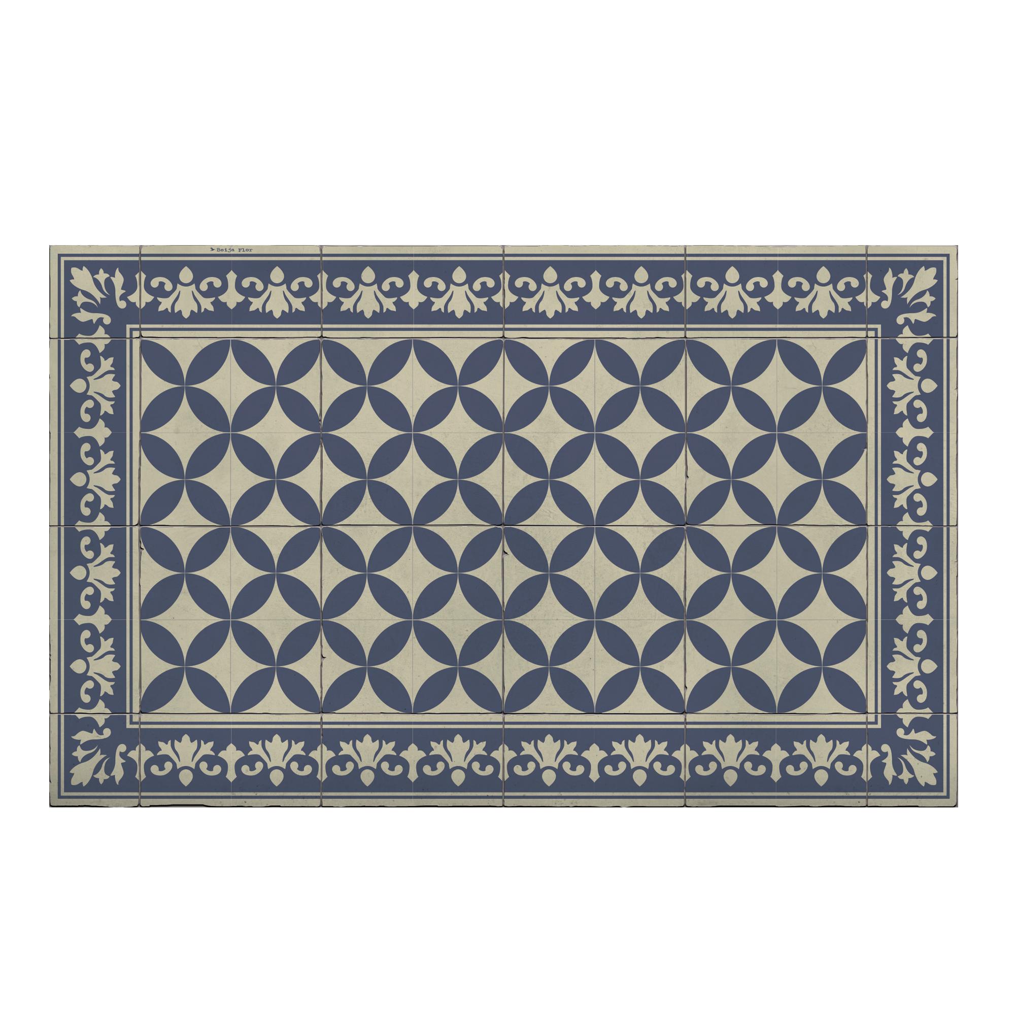 Tapis en vinyle motifs carreaux de ciment bleu 70x120