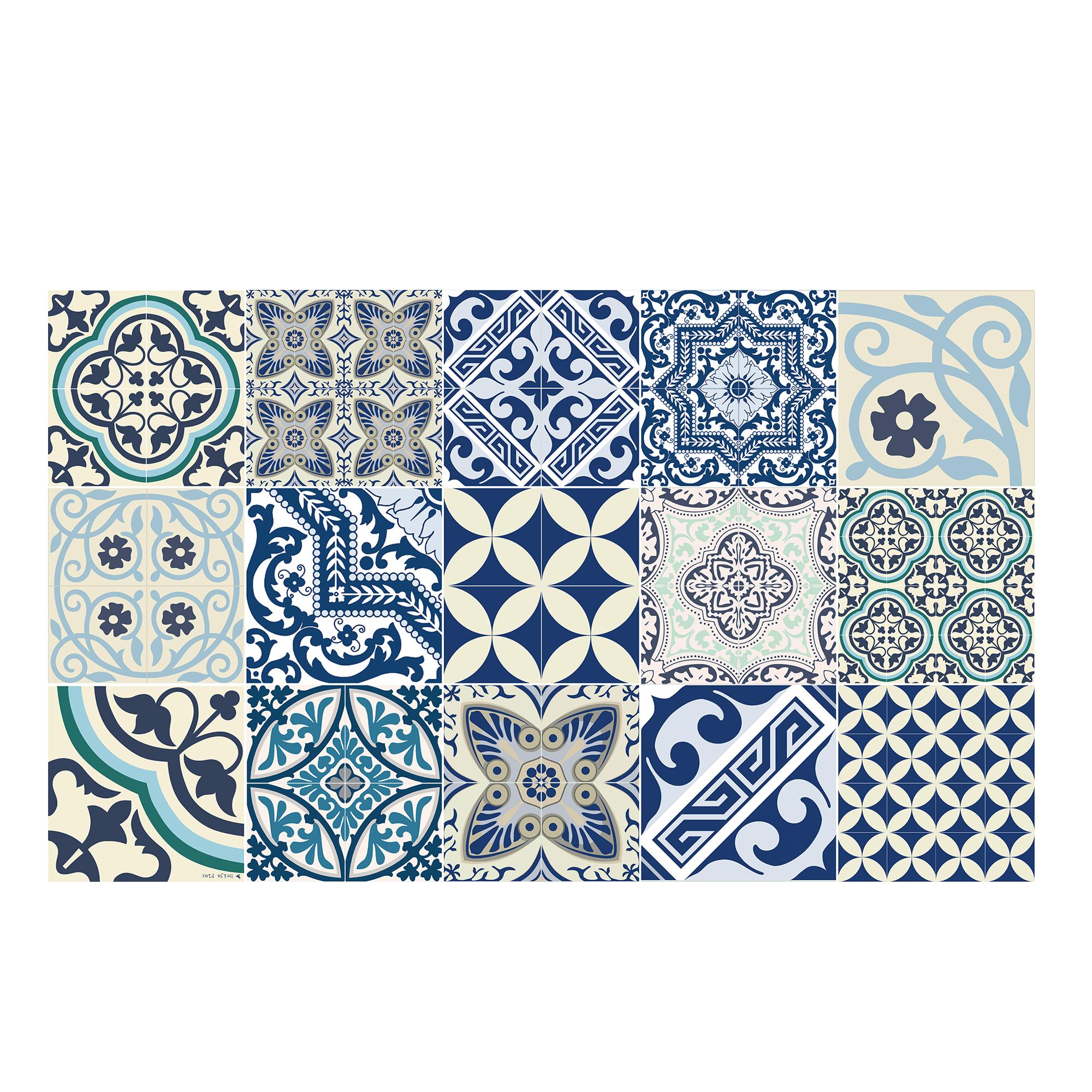Tapis en vinyle motifs carreaux de ciment bleu 70x180